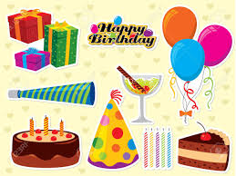 happy birthday set use to create greeting cards and party