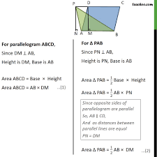 Area Of A Parallelogram Worksheet Example 2 If A Triangle And A Parallelogram Are On Same Examples