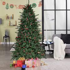 7ft christmas tree goplus 7ft artificial pvc christmas tree hinged 1918 tips w pine