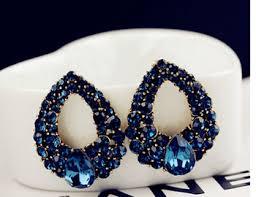 big stud earrings buy luxury gold color rhinestone big blue water drop created