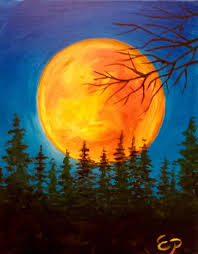painting idea gorgeous huge golden sun behind the evergreens and
