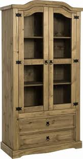 Mexican Pine Bookcase Corona 2 Door 2 Drawer Glass Display Unit 193 00 Mexican Pine