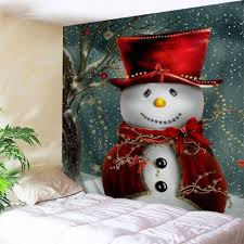 christmas snowman printed bedroom tapestry colormix w inch l