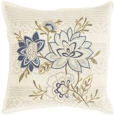 Peacock Pillow Pier One by Blue Flowers With Border Natural Pillow Blue Flower And Natural