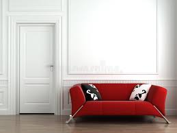 red couch on white interior wall stock photo image 8904262
