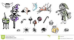 Halloween Drawing Halloween Drawing Kit Stock Vector Image 45085486