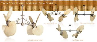 twin star ii ceiling fan 56 inch double twin star tropical ceiling fan with natural palm blades