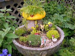 Outdoor Fairy Garden Ideas by Fairy Garden Landscaping Stoned Pot Fairy Garden In Yellow Theme