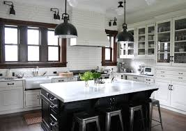Farmhouse Pendant Lights by Cabinets U0026 Drawer White Black Colorblock Kitchen Farmhouse Style