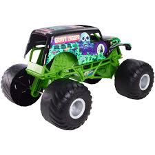 grave digger remote control monster truck wheels monster jam giant grave digger vehicle mattel toys