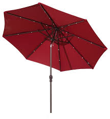 Red Rectangular Patio Umbrella 9 U0027 Round Aluminum Solar Powered 24 Led Light Patio Umbrella Tilt