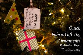 fabric gift tag ornaments peek a boo pages sew something