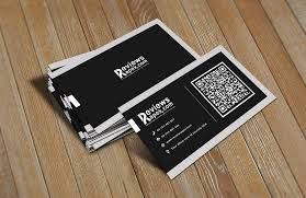 clean black corporate business card template with qr code