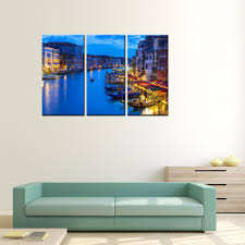modern kitchen canvas art 3 panels venice night view canvas paintings artwork print