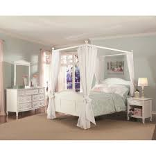 White Twin Canopy Bedroom Set Emma 4 Piece Twin Canopy Bedroom Set