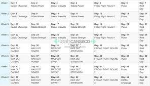 beachbody fitness program calendar schedule fitness travel