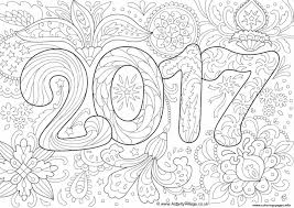 doodle new year 2017 coloring pages printable