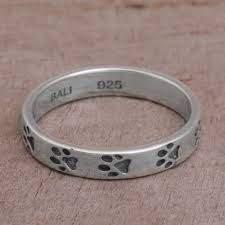 silver band sterling silver paw print motif band ring from bali paw prints
