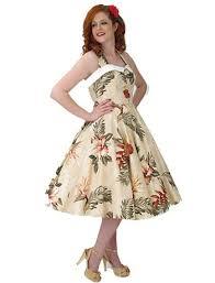 1950s style beige burgundy floral hawaiian halter full skirt dress