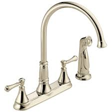 polished nickel kitchen faucets delta cassidy 2 handle standard kitchen faucet with side sprayer