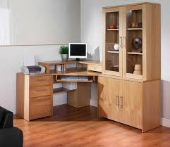 Funiture Corner Office Desk Ideas Using Corner Black Oak Wood