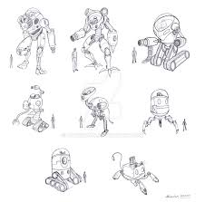 random robot sketches by leticiakao on deviantart