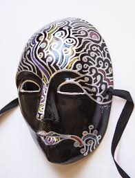 mardi gras masquerade mask black and silver full face hand