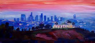 saatchi los angeles at dusk with griffith observatory painting