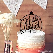 wedding cake topper cursive just married for honey moon party