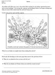corals and coral reefs reading comprehension worksheet