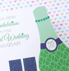 55th wedding anniversary personalised handmade emerald 55th wedding anniversary card