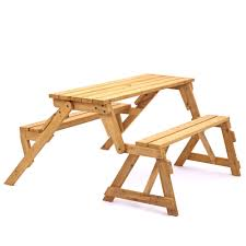 portable wooden bench fold into picnic table with attached double