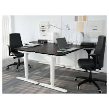 Sit Stand Office Desk Bekant Corner Desk Left Sit Stand Black Brown White Ikea