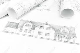 housing project sketch and house plan blueprints stock photo