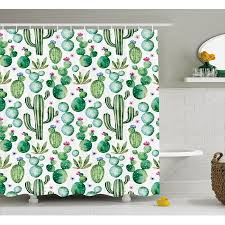 Lime Green Bathroom Accessories by Green Decor Shower Curtain Mexican Texas Cactus Plants Spikes