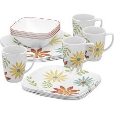corelle squares happy days lightweight 16 dinnerware set