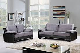 Black Microfiber Loveseat Amazon Com Modern Faux Leather And Brush Microfiber Sofa And