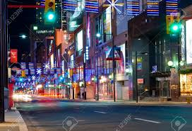 yonge street in toronto canada at christmas time with light