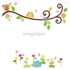Flower Wall Decals For Nursery by Scroll Branch Peel And Stick Wall Art Decals Owl Leaves Flowers
