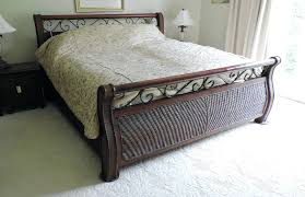 Iron Sleigh Bed Platform Bed Frame Ikea Wicker And Iron Sleigh Bed With Linens And