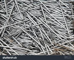 heap metal nails carpentry construction works stock photo 57418621