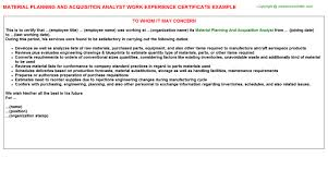 Material Analyst Resume Material Planning And Acquisition Analyst Work Experience Certificate