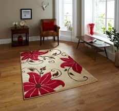 beige red floral hand carved effect rug 100 polypropylene modern