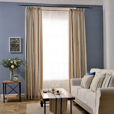 Striped Linen Curtains Tan Striped Linen Pinch Pleated Funky Long Curtains And Drapes