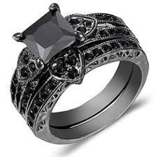 Black Gold Wedding Rings by 14k Black Gold Three Stone Black Diamond By Designmasters On Etsy