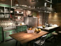 Industrial Style Kitchen Designs Kitchen Style Modern Industrial Design Hanging Shelves Green Open