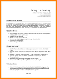 nanny resume exles exle of a nanny resume exles resumes sle objectives 19