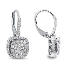diamond back earrings diamond couture 14k white gold 0 5ctw diamond lever back drop