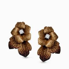 flower earrings 18k yellow gold flower earrings with diamond center organic