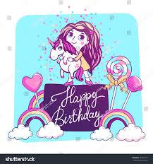 magic unicorn confetti lollipops happy stock vector 429337231